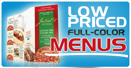 Menus printing and mailing - super low prices